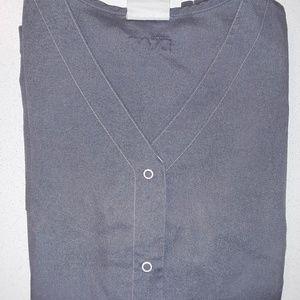 Gray snap scrub top